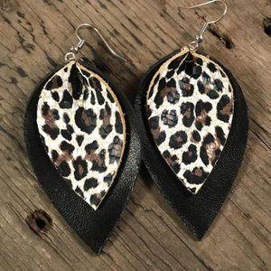 Leather Earrings - Leopard